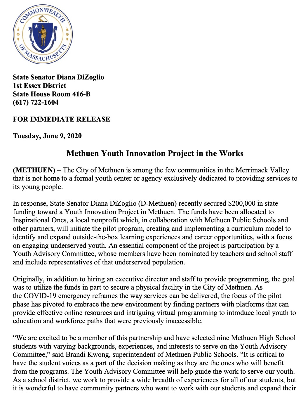Methuen Youth Innovation Project Press Release